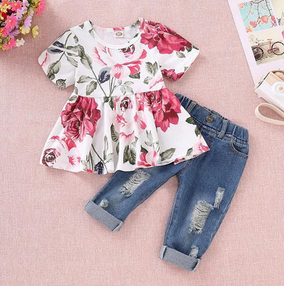 Floral Short-sleeve Top and Jeans Set