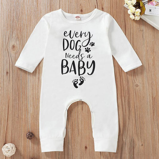 Puppy Paws Letter Printed Baby Jumpsuits