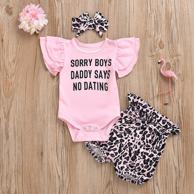 3PCS Butterfly Sleeve Leopard Pinted Baby Set