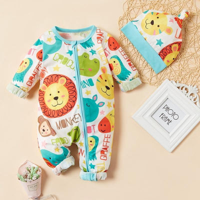 Cute Allover Printed Baby Animal Jumpsuit