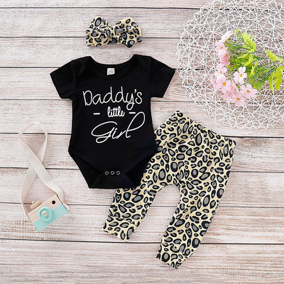 """Daddy's little girl"" Leopard Printed Baby Set"