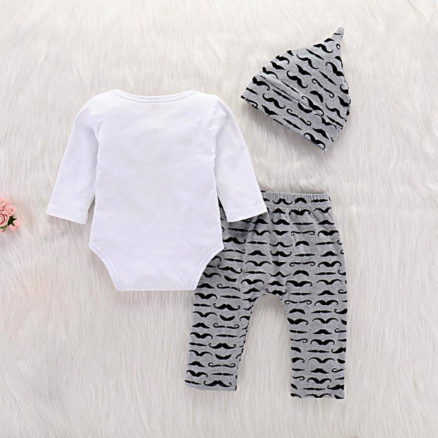 LADIES I HAVE ARRIVED Print Bow Bodysuit and Pants with Hat Set