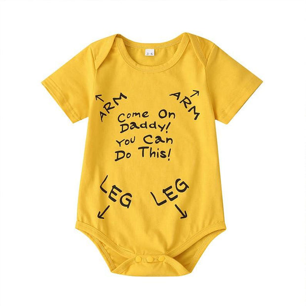 "Lovely ""Come On Daddy You Can Do This"" Letter Printed Baby Romper"
