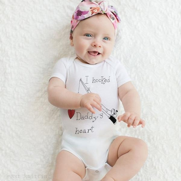 I Hooked Daddy's Heart Print Romper