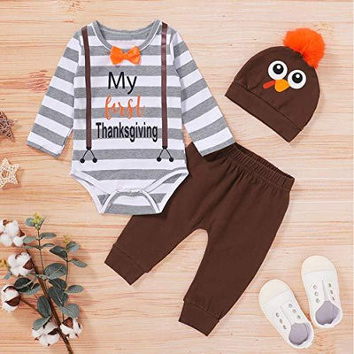 """My First Thanksgiving"" Letter Printed Romper with Pants Baby Set"