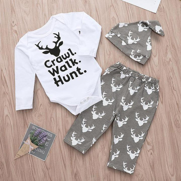 Baby Boys Girls Deer Print Romper & Pants & Hat Set