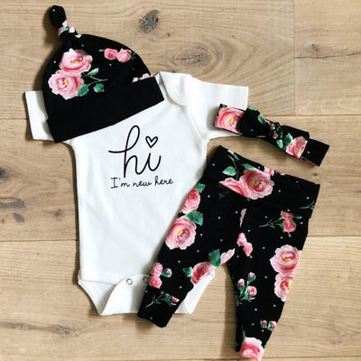 "4PCS Baby Girl ""Hi,I'm new here"" Letter Printed Romper With Pants Baby Set"