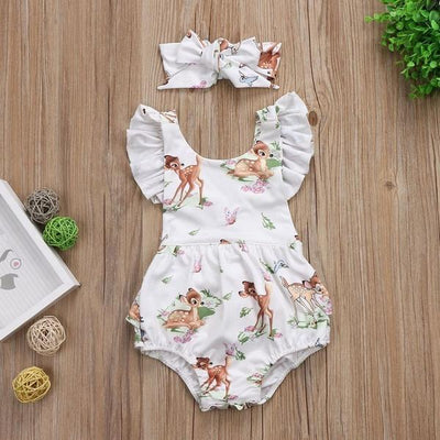 Lovely Little Deer Printed Baby Romper