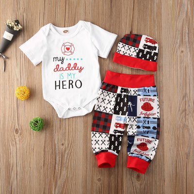 "3PCS ""My Daddy is My Hero"" Cool Cartoon Pattern Baby Set"