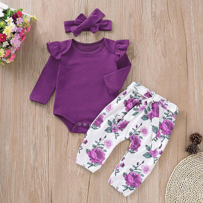 3PCS Lovely Solid Floral Panted Baby Set