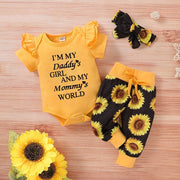 """Daddy's girl mommy's world"" Sunflower Printed Baby Set"