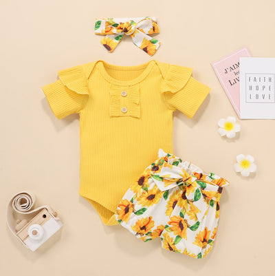 3PCS Lovely Sunflower Printed Baby Girl Set