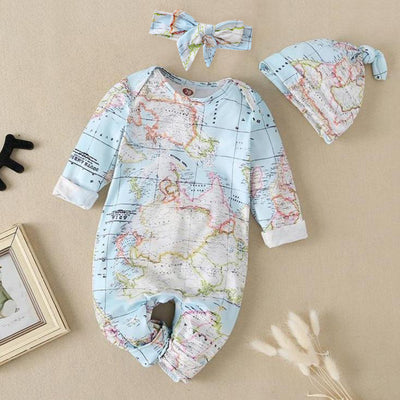 Lovely World Map Printed Long-sleeve Baby Jumpsuit With Hat