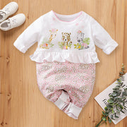 Lovely Three Animals Printed Fold Edge Long-sleeve Baby Girl Jumpsuit