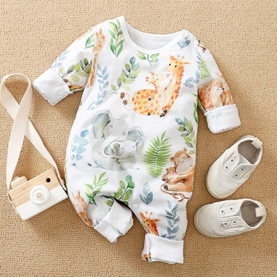 Lively Animal Printed Baby Jumpsuit