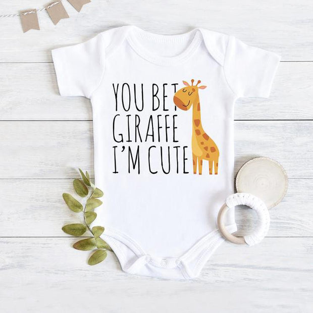 """You Bet Giraffe I'm Cute""Lovely Letters Giraffe Printed Short-sleeve Baby Romper"