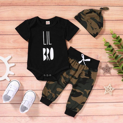 """LIL BRO"" Camouflage Printed Baby Boy Set"