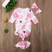 Baby Full Floral Printed Pajamas With Headband