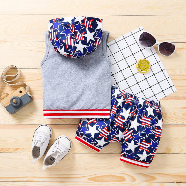 2PCS Fashion American Boy Glasses Printed Baby Set