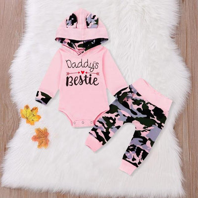 "2PCS Baby Girl ""Daddy's Bestie"" Camouflage Printed Baby Set"