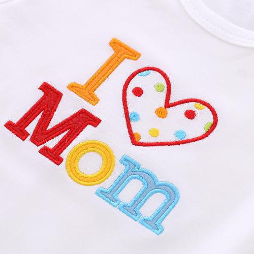"2PCS ""I Love Mom/Dad"" Lovely Letter Printed Baby Romper"