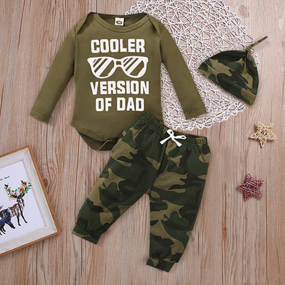 "3PCS ""COOLER VERSION OF DAD"" Letter Printed Romper with Camo Printed Pants Baby Set"
