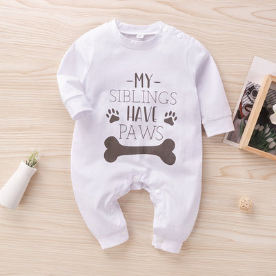 """My Siblings Have Paws"" Cute Letters Bone Printed Long-sleeve Baby Jumpsuit"
