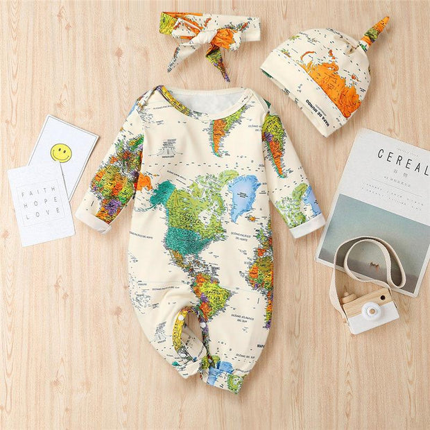 3PCS Cute Map Printed Long Sleeve Baby Jumpsuit