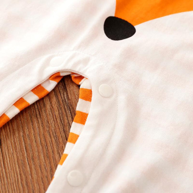 Lively Orange Stripe Fox Printed Long-sleeve Baby Jumpsuit