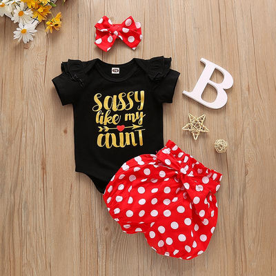 "3PCS ""Sassy Like My Aunt"" Polka Dot Printed Baby Set"