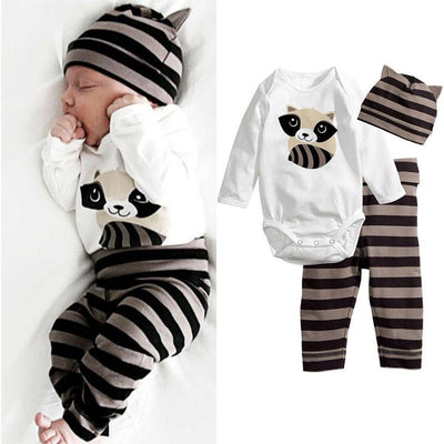 3PCS Cartoon Raccoon Printed Baby Set