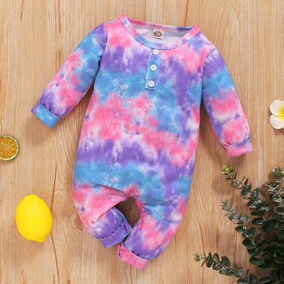 Lovely Tie-dyed Printed Long-sleeve Baby Jumpsuit