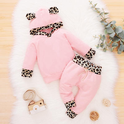2PCS Baby Girl Soild Leopard Printed  Long Sleeve Hoodie With Pants Baby Clothes Set