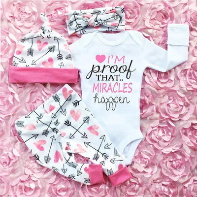 4 Pcs Newborn Baby Girls Clothes Miracles Letter Romper Outfit Pants Set +Hat+Headband