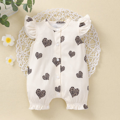 Lovely Heart-shaped Printed Baby Romper