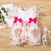 Lovely Floral Printed Splicing Lace Baby Girl Romper