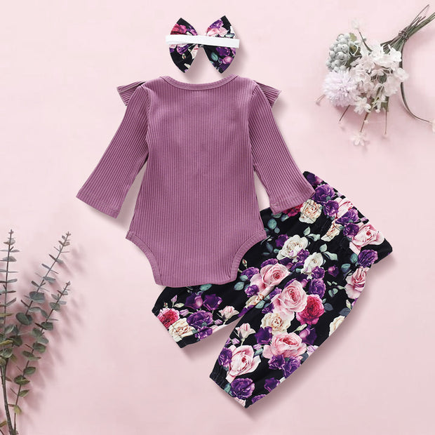3PCS Purple Floral Printed Baby Girl Set