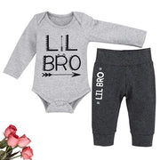 "Baby Boy ""LIL BRO"" Letter Printed Bodysuit with Pants Baby Set"