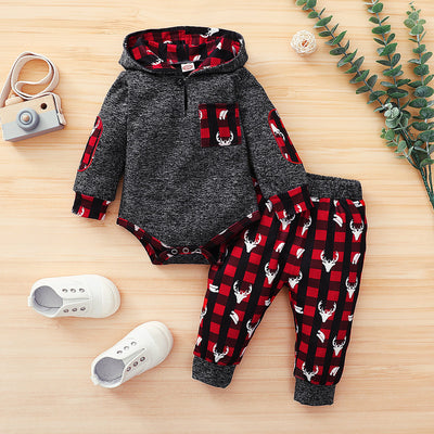 Lovely Plaid And Elk Printed Baby Set