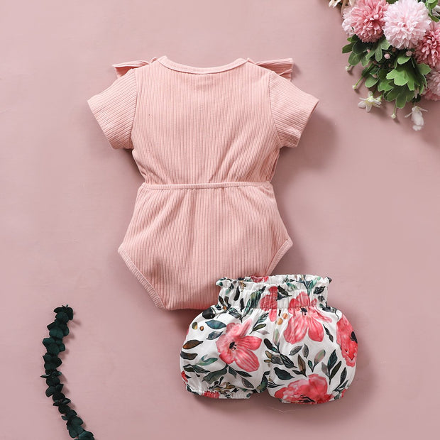 2PCS Lovely Solid Floral Printed Baby Set