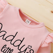 "3PCS ""Daddy's Little Girl"" Floral Printed Baby Set"