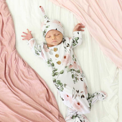 2PCS Lovely Newborn Baby Girl Flower And Foliage Printed Sleeping Bag With Hat Set