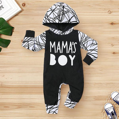 "Cute ""Mama's Boy"" Letter Black Line Printed Long Sleeve Baby Boy Hoodie Jumpsuit"