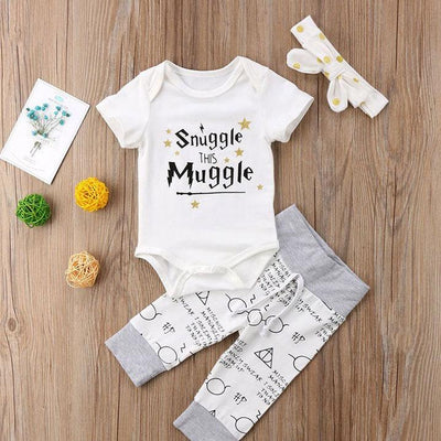 "3PCS Baby Girl ""Snuggle this muggle"" Letter Printed Romper With Pants Baby Set"