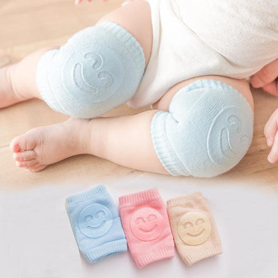 Baby Boy Girl Accessories Non Slip Crawling Smile Face Printed Knee Pads Protector Safety Kneepad
