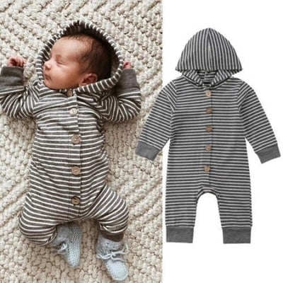 Lovely Striped Printed Long Sleeve Baby Boy Girl Jumpsuit