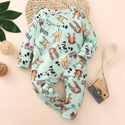 Cute Full Cartoon Plant And Animal Printed Long-sleeve Baby Jumpsuit