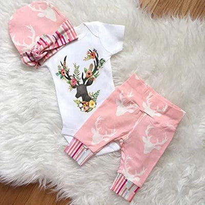 3PCS Lovely Cartoon Elk Printed Baby Set