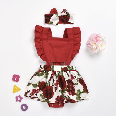 2PCS Lovely Rose Printed Baby Romper