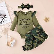"""Daddy's Girl Mommy's World"" Camouflage Printed Baby Girl Set"